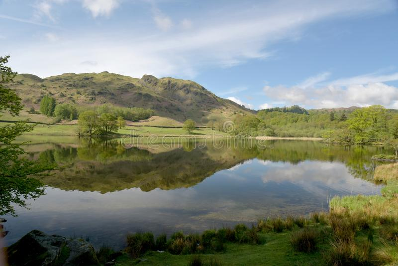 Reflections of Loughrigg Fell in Rydalwater, Lake District. Reflections of Loughrigg Fell seen in the waters ofRydalwater in the English Lake District royalty free stock photography
