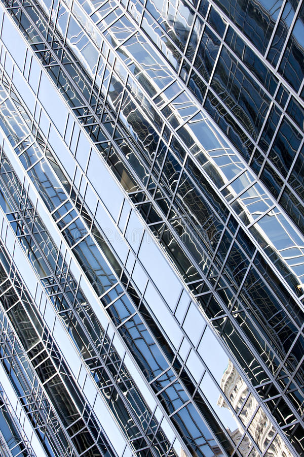 Reflections in office building diagonal royalty free stock photo