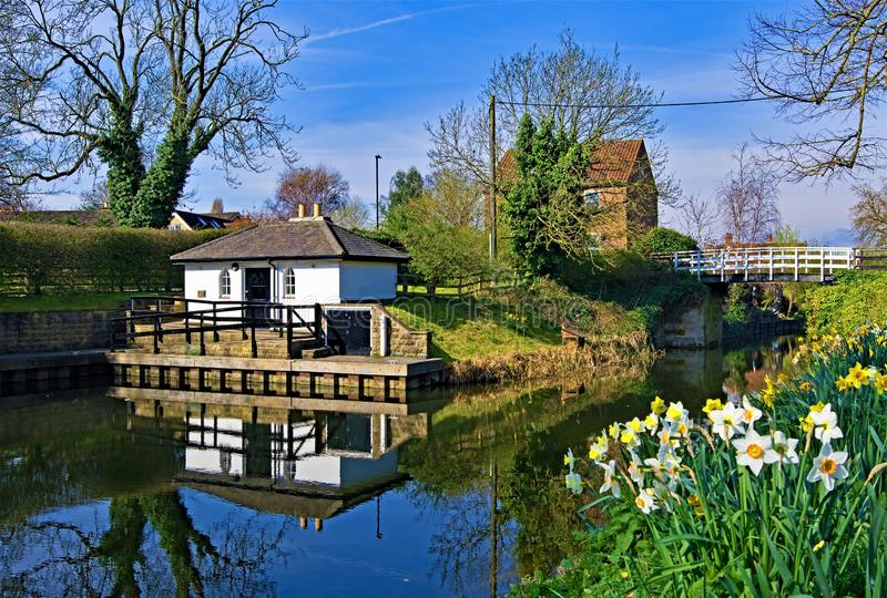 Reflections on Ripon Canal 2, in late March 2019. royalty free stock images