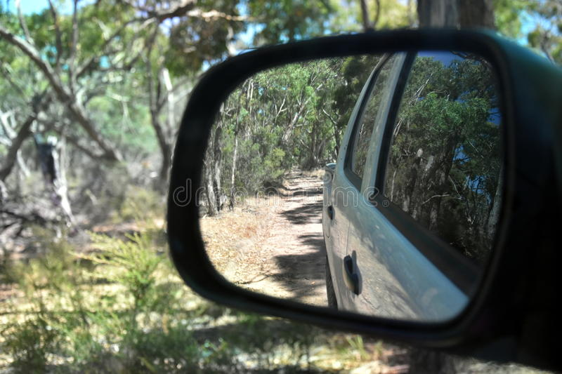 Reflections in a side view mirror of a car driving in the bush. Rear view car mirror in forest live green. Dirt road leading up to a slavery plantation stock photo