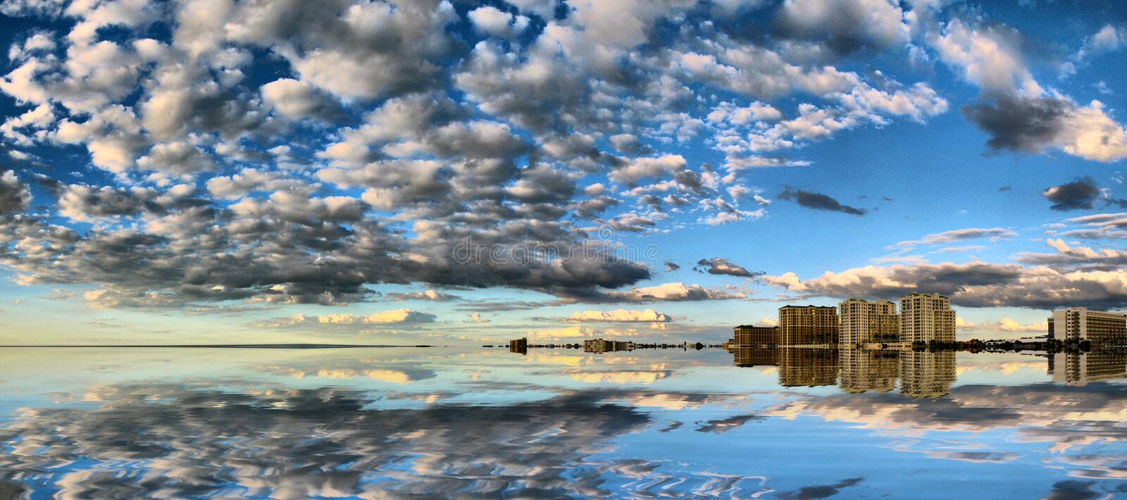 Reflections Of Sky And Clouds Royalty Free Stock Image