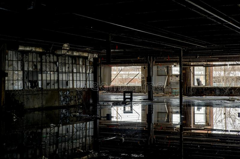 Reflections in Still Waters - Abandoned National Acme Factory - Cleveland, Ohio royalty free stock images