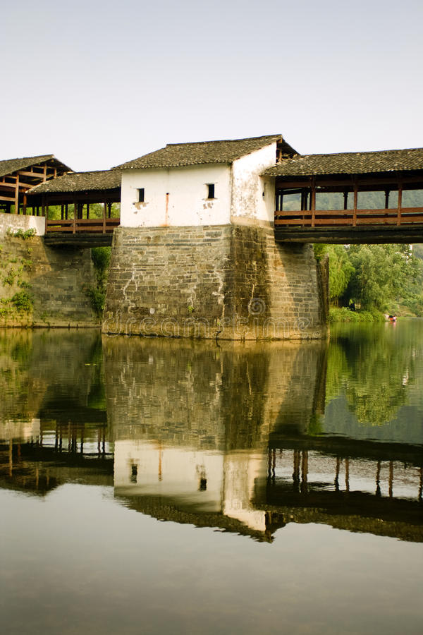 Reflections on water, traditional china stock photo