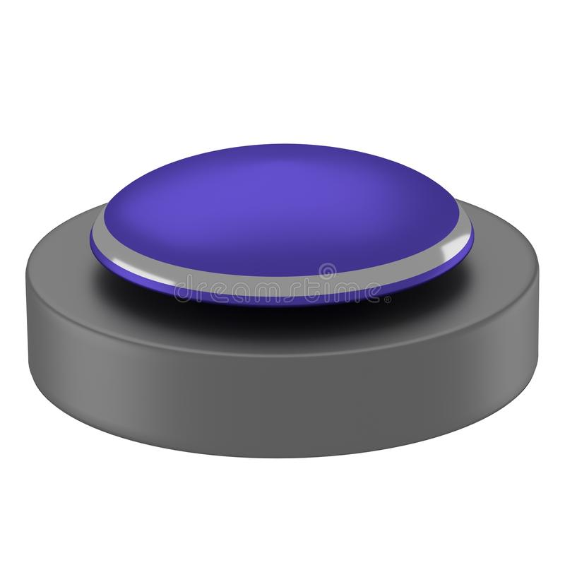 Reflective blue button with black base royalty free illustration