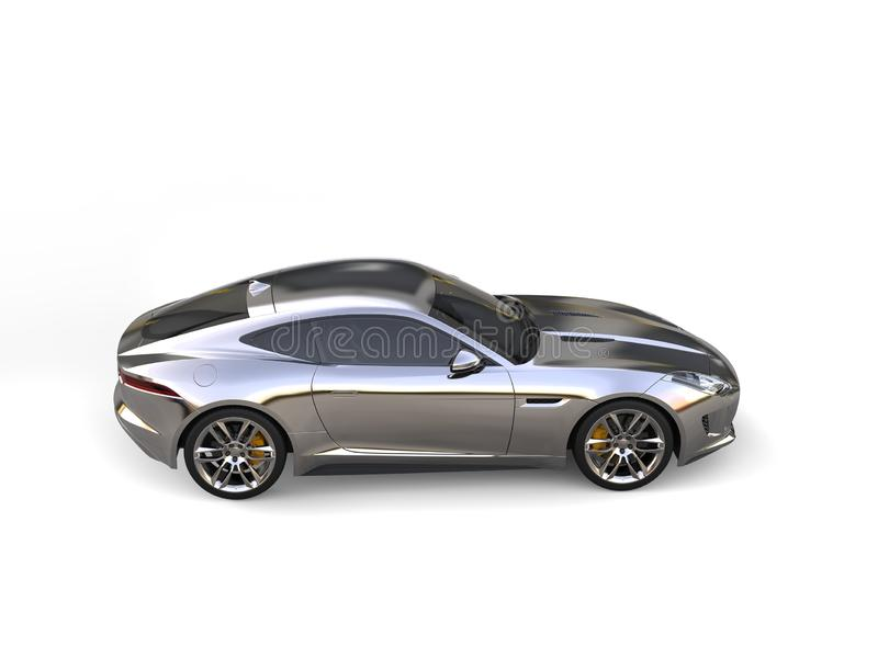 Reflective chrome modern sports concept car - top down side view stock illustration