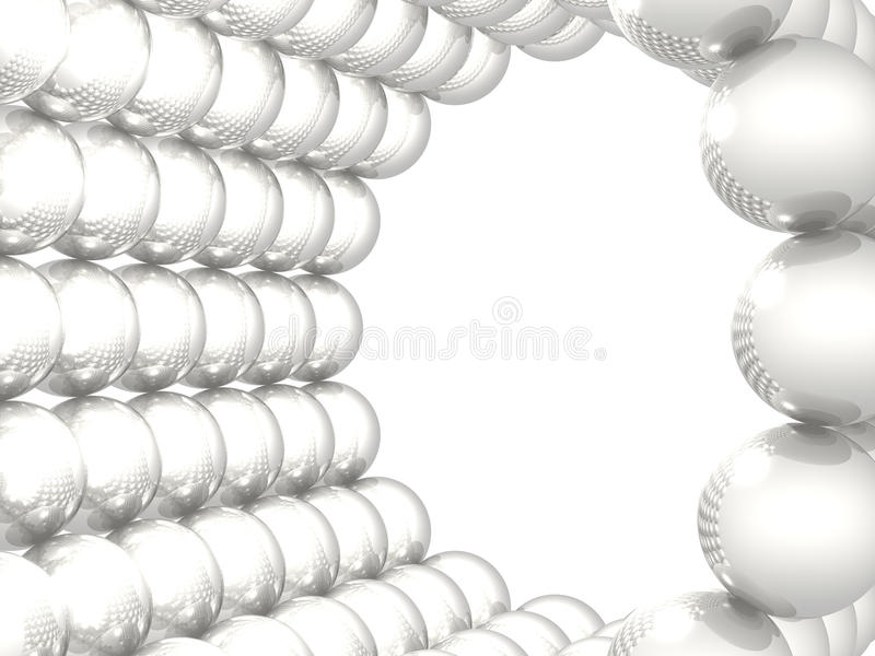 Reflective cylinder composed from spheres on white vector illustration