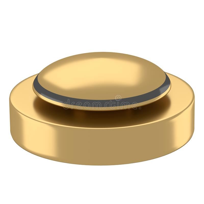Reflective golden button with black base stock illustration