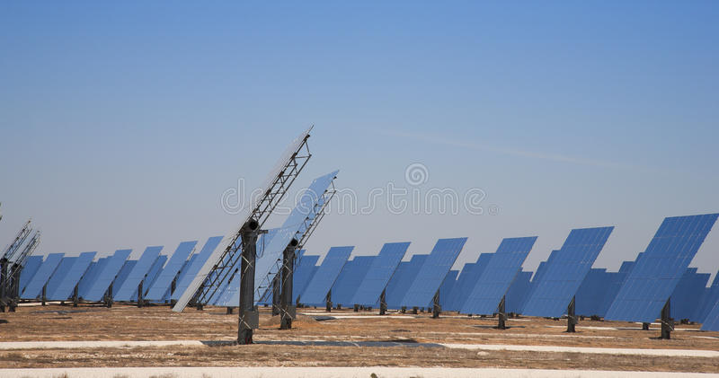 Reflective panels. Of a solar thermal plant in circular arrangement royalty free stock image