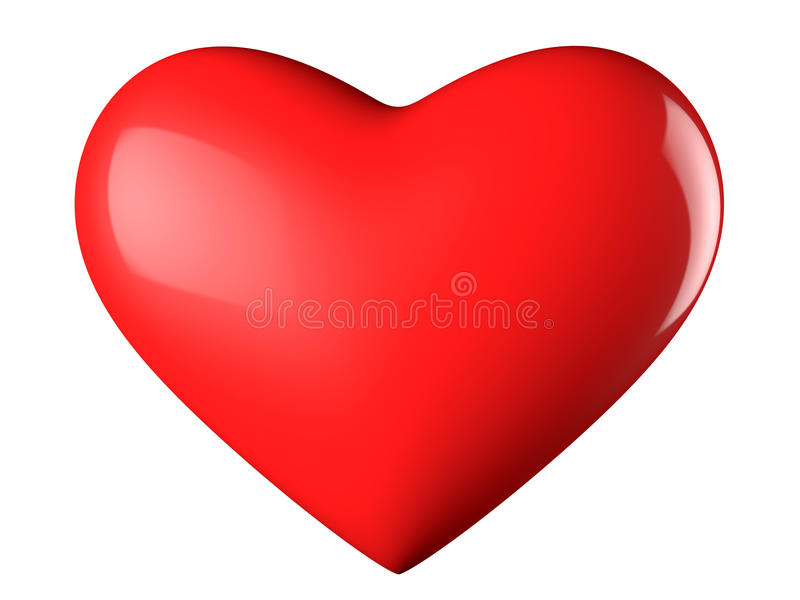 Heart. A reflective red heart with white background royalty free illustration