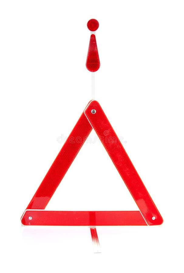 Reflective road hazard warning triangle royalty free stock photography