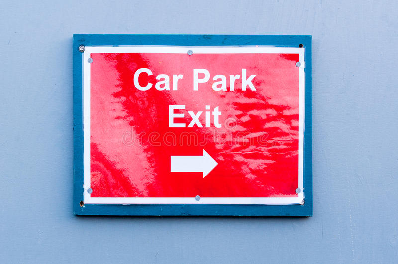 Reflective sign for 'Car Park Exit'. Close up of car park exit sign royalty free stock photography