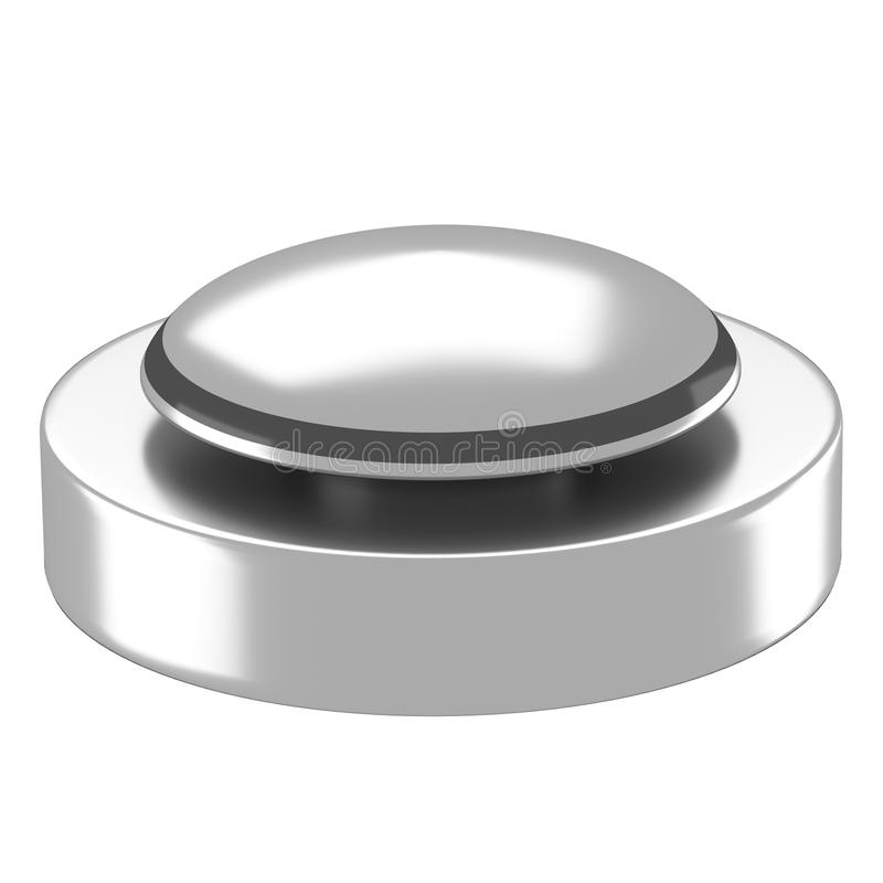Reflective silver button with black base stock illustration