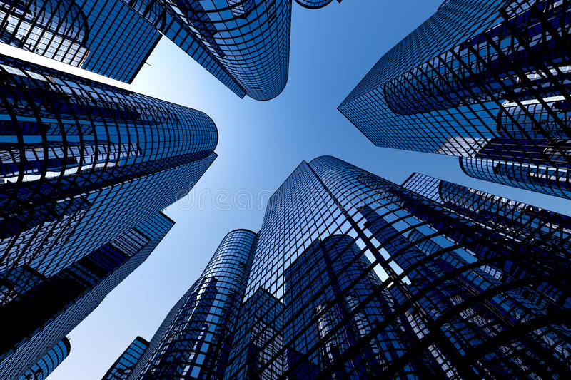 Reflective Skyscrapers, Business Office Buildings. Royalty Free Stock Photo