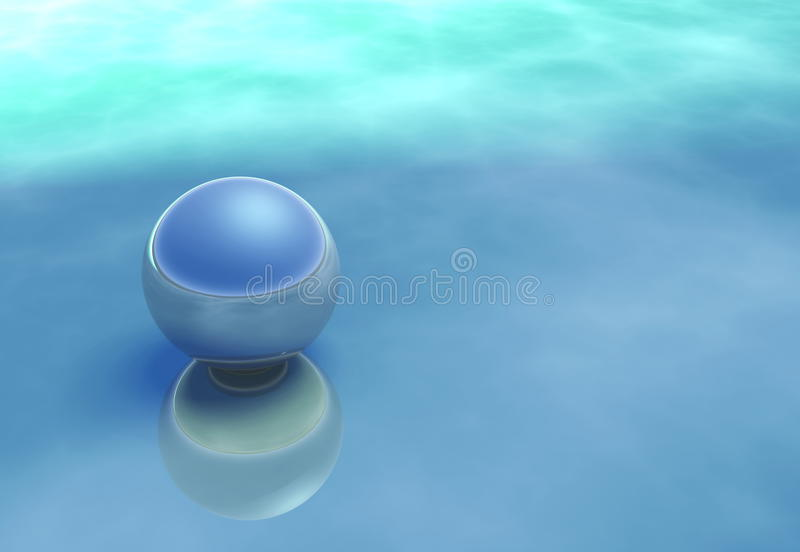 Reflective Sphere On A Atmospheric Blue Surface Stock Images