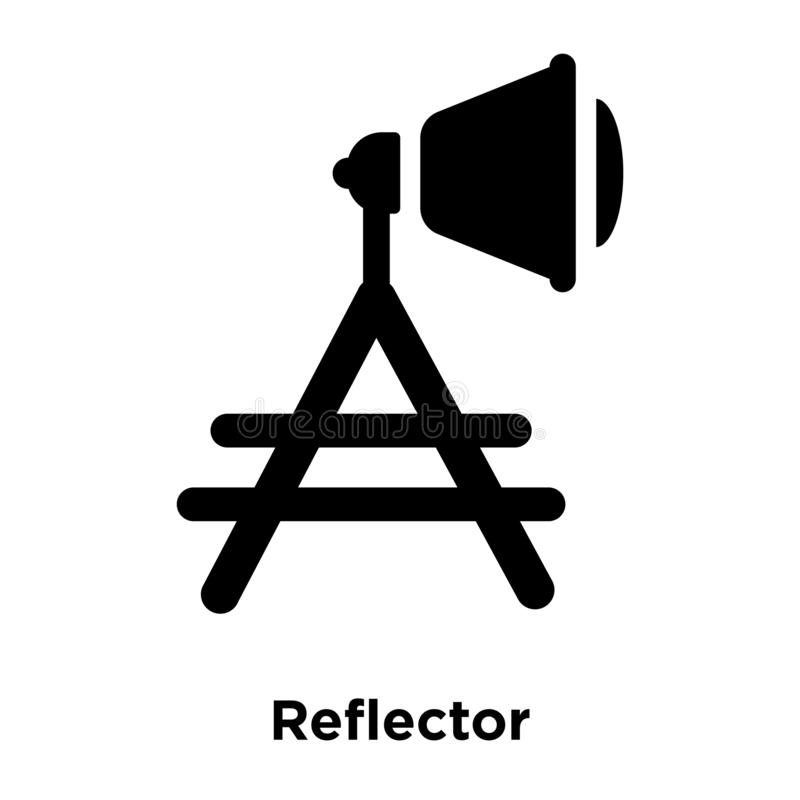 Reflector icon vector isolated on white background, logo concept. Of Reflector sign on transparent background, filled black symbol royalty free illustration