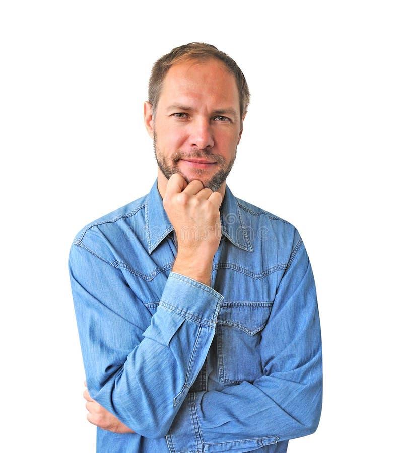 Refleje al hombre en camisa del dril de algodón foto de archivo libre de regalías