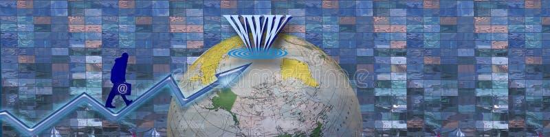 Refleje el éxito usando el Internet. ilustración del vector