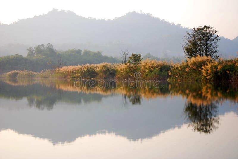 Download Reflektera landskapet arkivfoto. Bild av park, dimma - 37349820