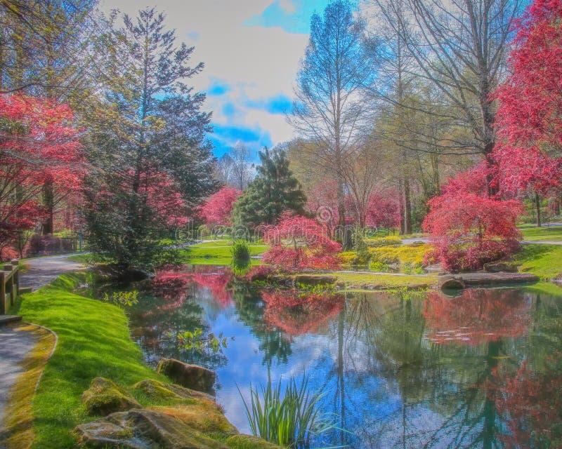 Reflektera pool efter Monet-stil royaltyfria foton
