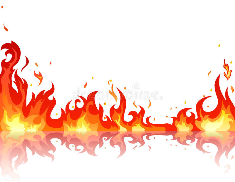 reflekterad brandflamma stock illustrationer