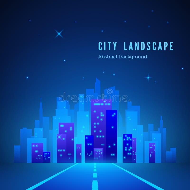 reflekterad flod för stadskremlin liggande natt Futuristisk nattstad Väg till staden av framtid Stadskontur på blå bakgrund också royaltyfri illustrationer