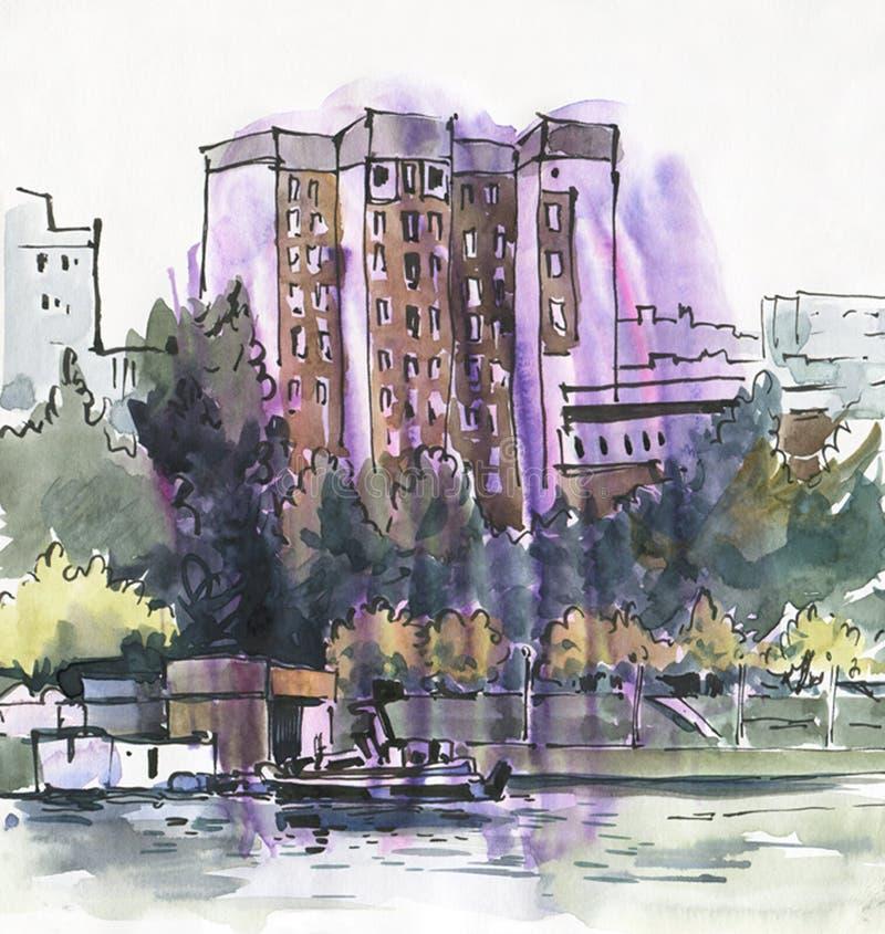 reflekterad flod f?r stadskremlin liggande natt Skissa f?rgpulver och vattenf?rgen arkivfoto