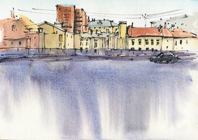 reflekterad flod f?r stadskremlin liggande natt Skissa f?rgpulver och vattenf?rgen arkivbilder
