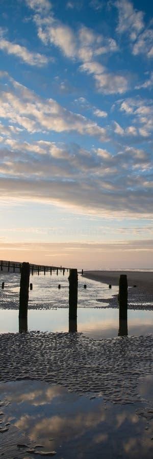 Reflekterade det vertikala panoramalandskapet för härlig soluppgång i tips arkivbilder