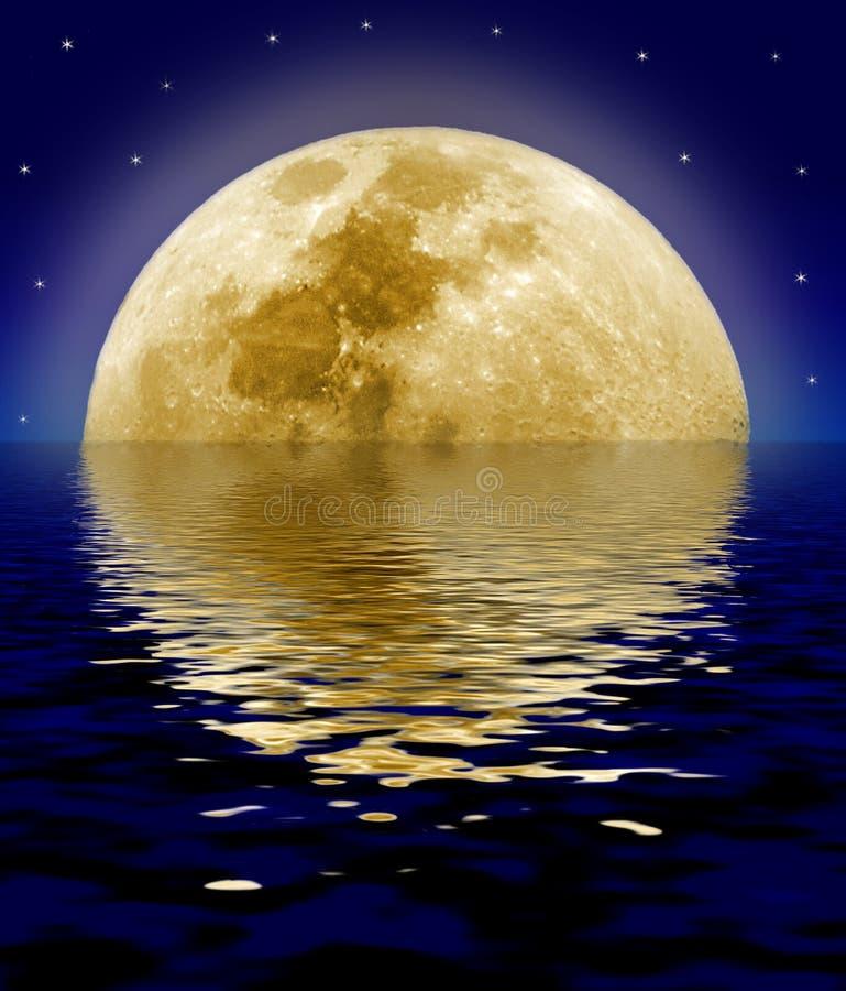 reflekterande hav för moon stock illustrationer