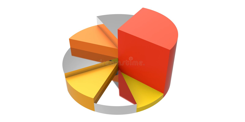 Reflekterande pajdiagram vektor illustrationer