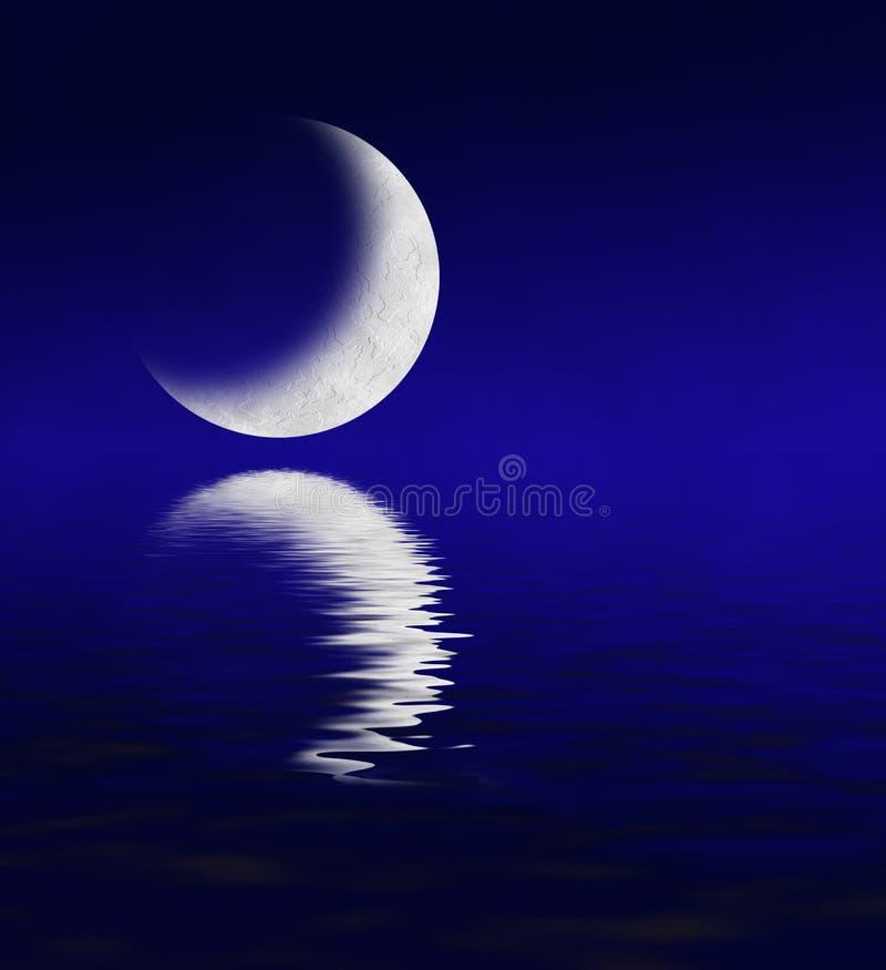 reflekterande vatten för moon stock illustrationer