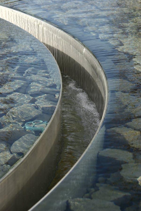 Reflekterande vattenpöl för runt rostfritt stål royaltyfri bild