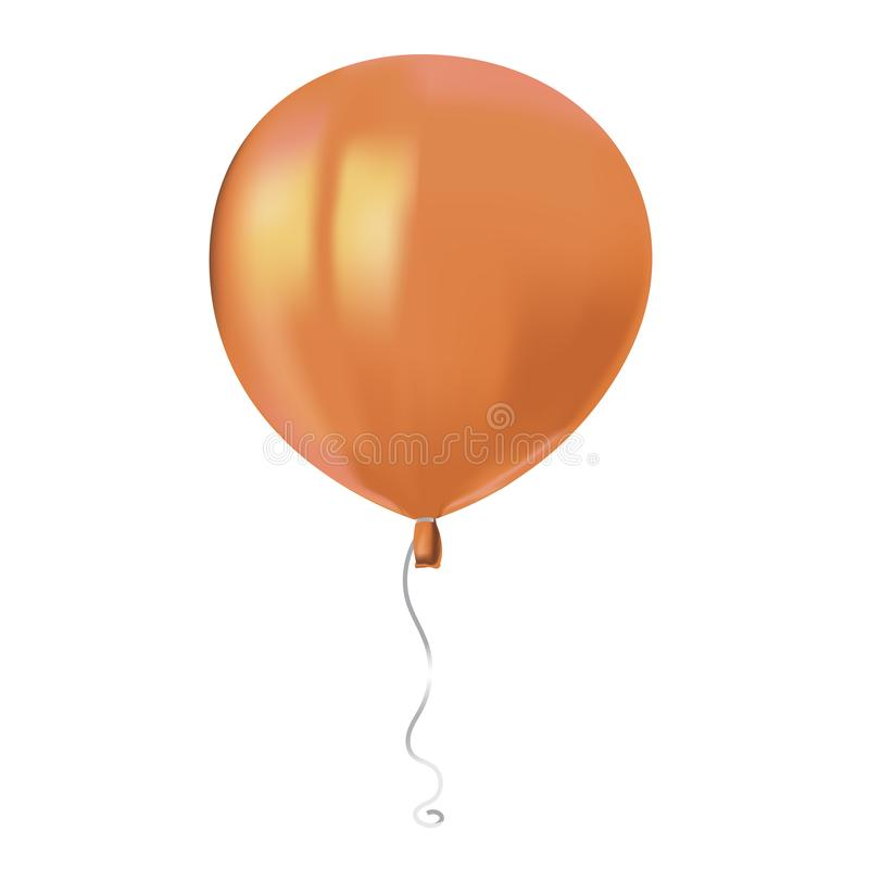Reflekterar den orange ballongen för det realistiska luftflyget med isolerat på vit bakgrund Festlig dekorbeståndsdel för någon f stock illustrationer