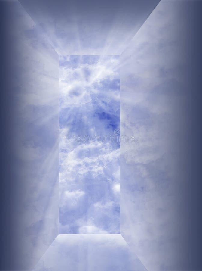 Reflektierende Öffnung zum Himmel stock abbildung