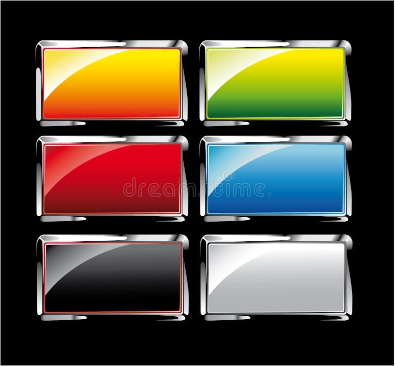 Reflektierende bunte Tasten eingestellt lizenzfreie abbildung