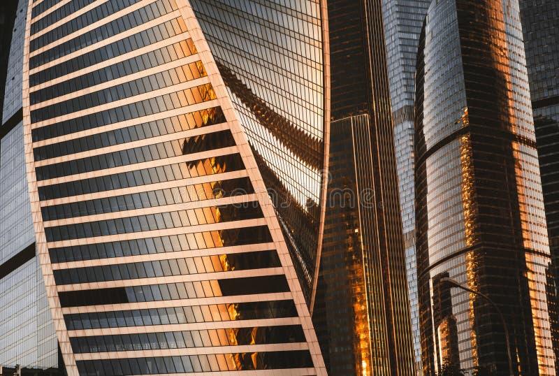 Reflektierende Stadt der Moskau-Stadtwolkenkratzer-Gruppe lizenzfreies stockfoto