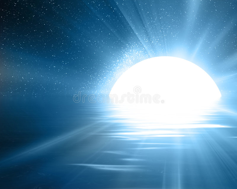 Reflektierter Mond lizenzfreie abbildung
