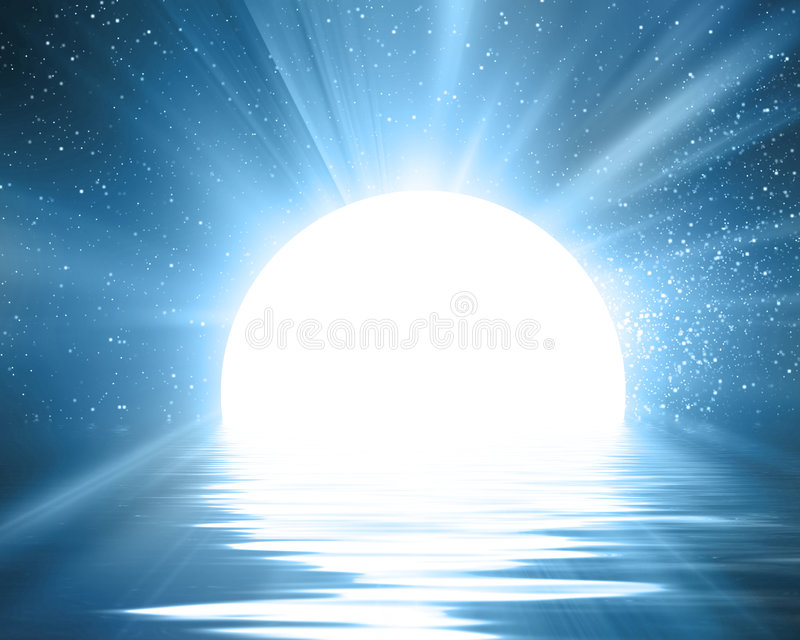 Reflektierter Mond stock abbildung