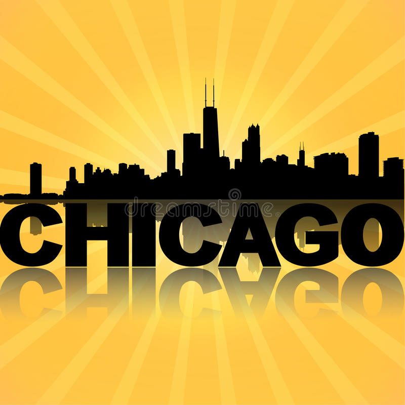 Reflektierter Sonnendurchbruch Chicagos Skyline lizenzfreie abbildung