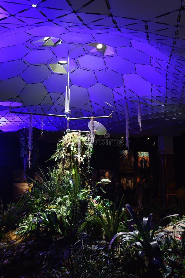 Reflektorer i lowlinelabbet på Open huset NY tillbringar veckoslutet arkivbild