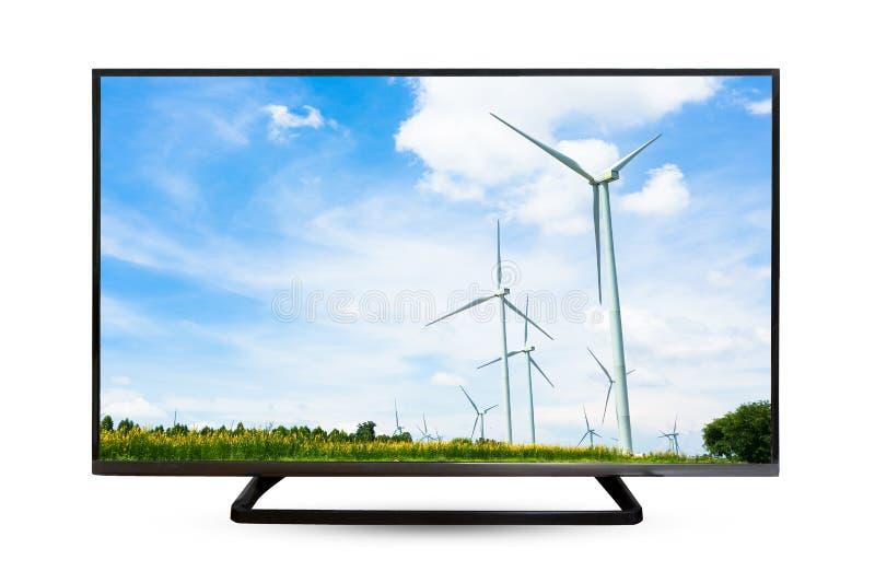 Reflexão da água do monitor da televisão no fundo branco fotografia de stock royalty free