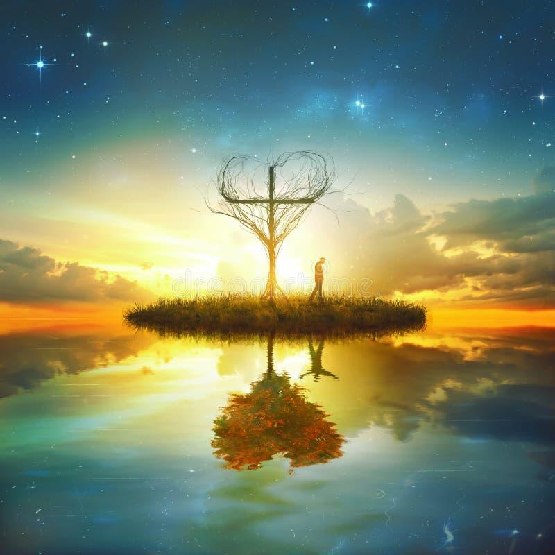Reflexão da cruz e do coração foto de stock royalty free