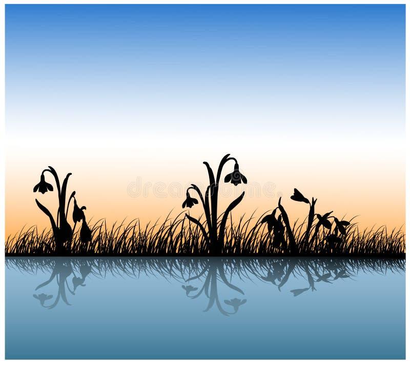 Reflexão da grama na água ilustração royalty free