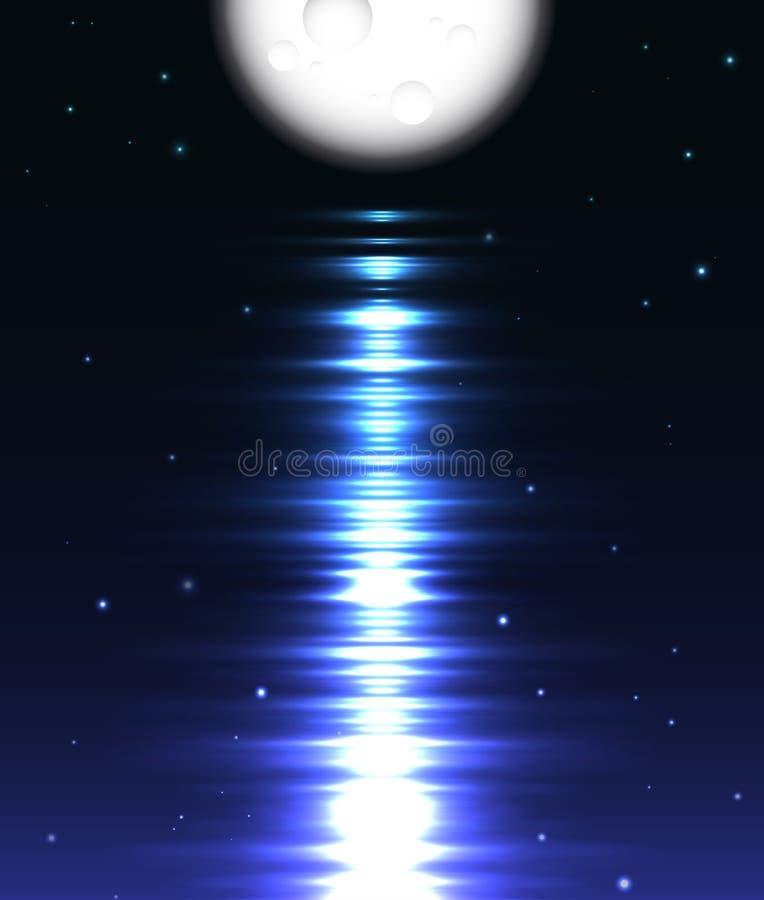 Reflexão da lua sobre a água contra o preto ilustração do vetor