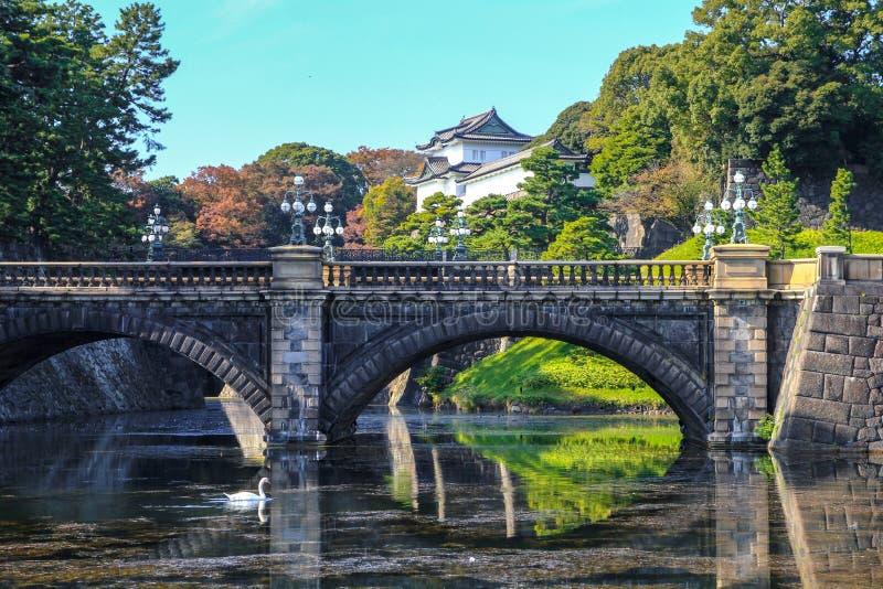 Reflex?o da ponte e pal?cio imperial, T?quio, Jap?o fotografia de stock