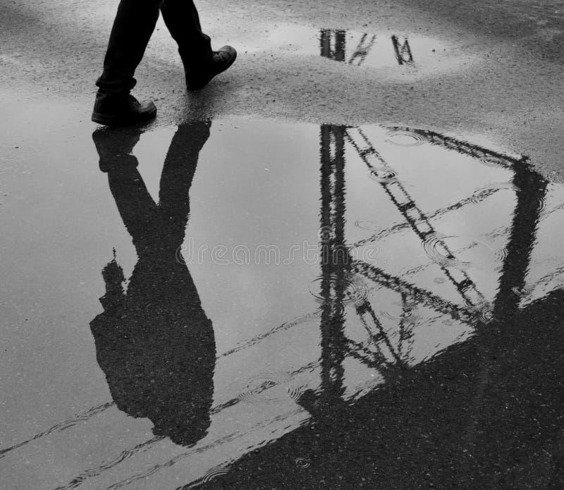 Reflexão da silhueta foto de stock