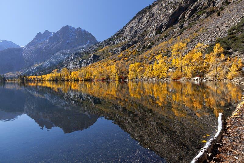 Reflexão de cores do outono da montanha fotos de stock