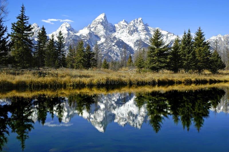 Reflexão de Tetons no rio foto de stock royalty free