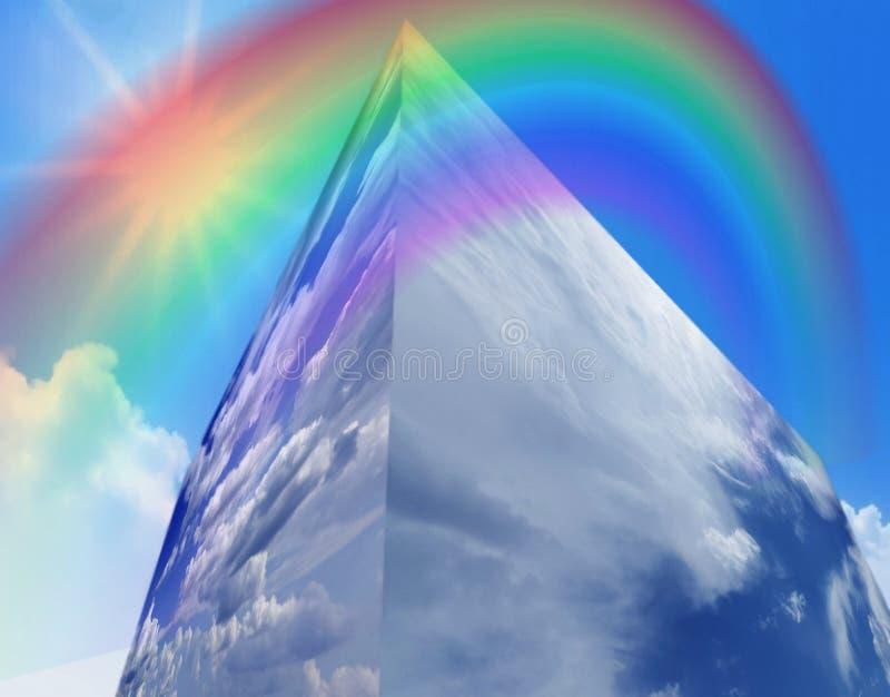 Reflexão do céu nos indicadores do edifício fotografia de stock royalty free
