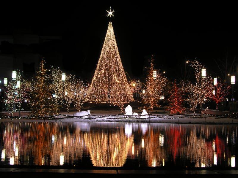 reflexão do Natal na noite fotografia de stock